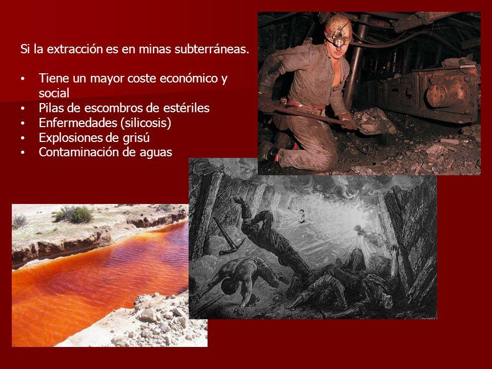 Si la extracción es en minas subterráneas.