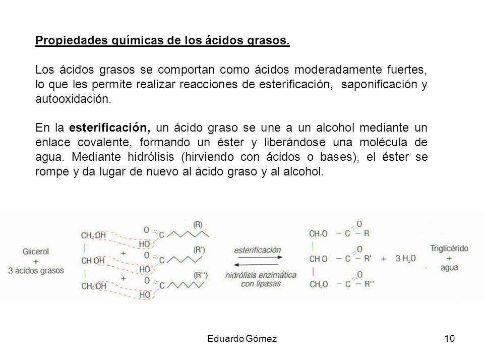 Propiedades químicas de los ácidos grasos.