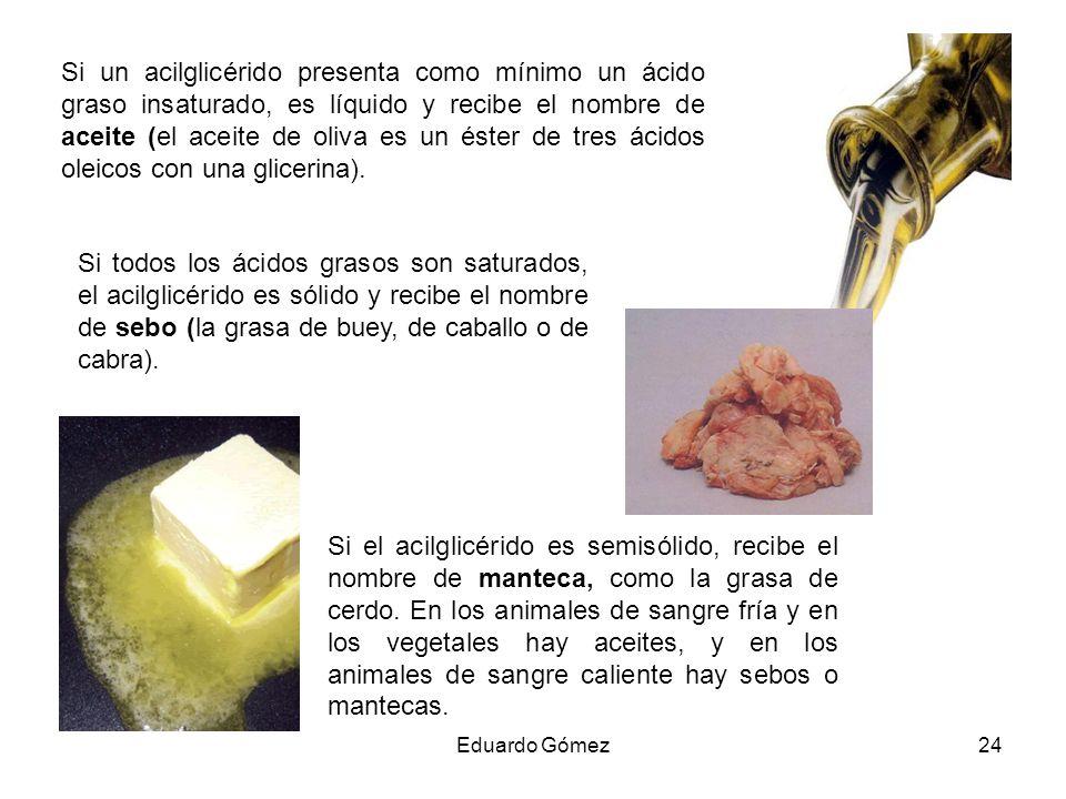 Si un acilglicérido presenta como mínimo un ácido graso insaturado, es líquido y recibe el nombre de aceite (el aceite de oliva es un éster de tres ácidos oleicos con una glicerina).