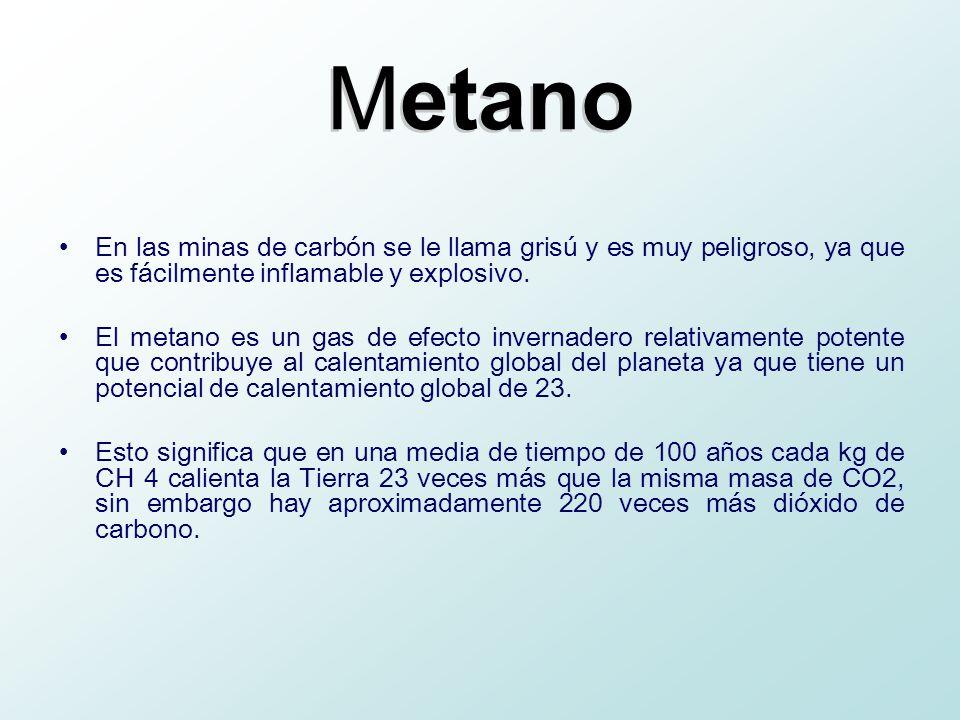 Metano En las minas de carbón se le llama grisú y es muy peligroso, ya que es fácilmente inflamable y explosivo.