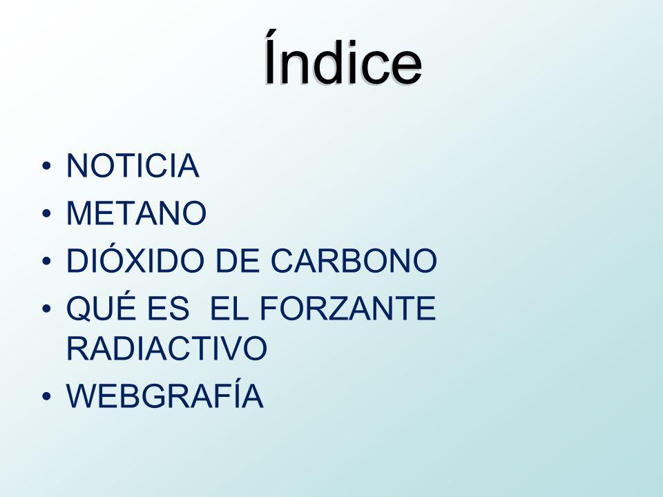 Índice NOTICIA METANO DIÓXIDO DE CARBONO QUÉ ES EL FORZANTE RADIACTIVO