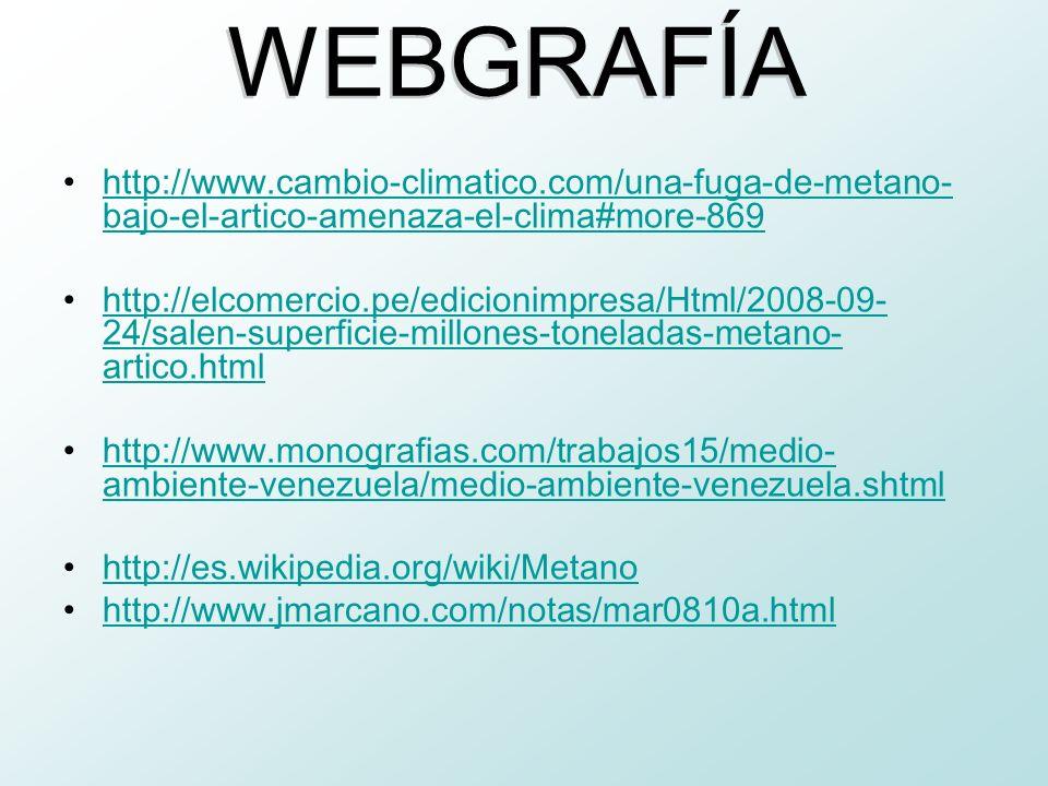 WEBGRAFÍA http://www.cambio-climatico.com/una-fuga-de-metano-bajo-el-artico-amenaza-el-clima#more-869.