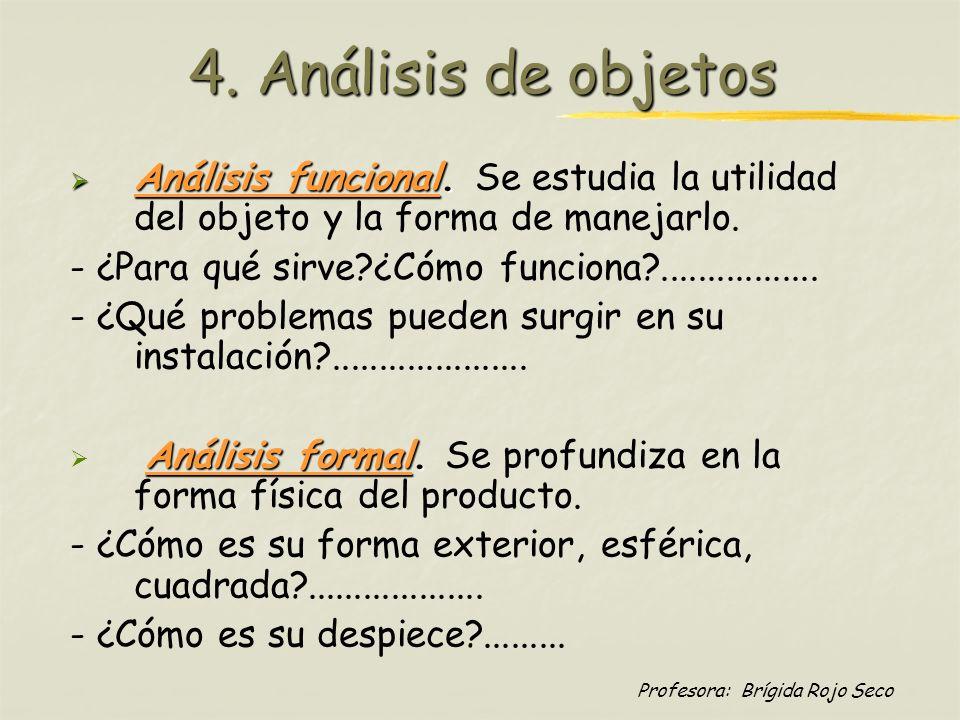 4. Análisis de objetos Análisis funcional. Se estudia la utilidad del objeto y la forma de manejarlo.