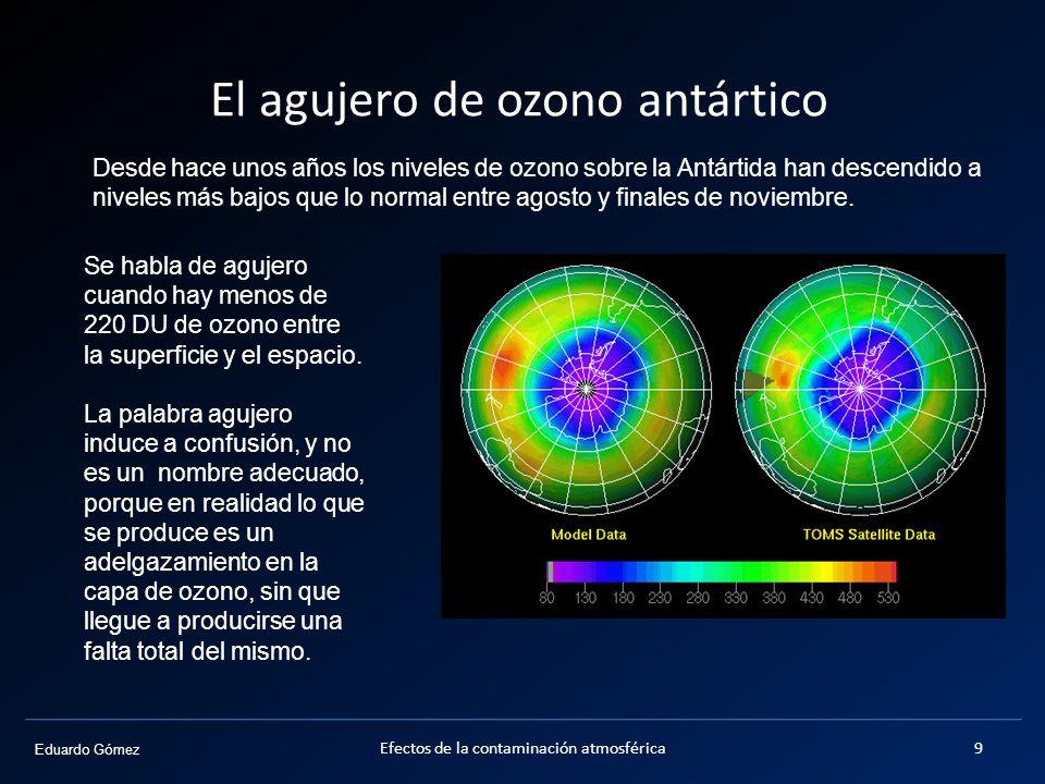 El agujero de ozono antártico