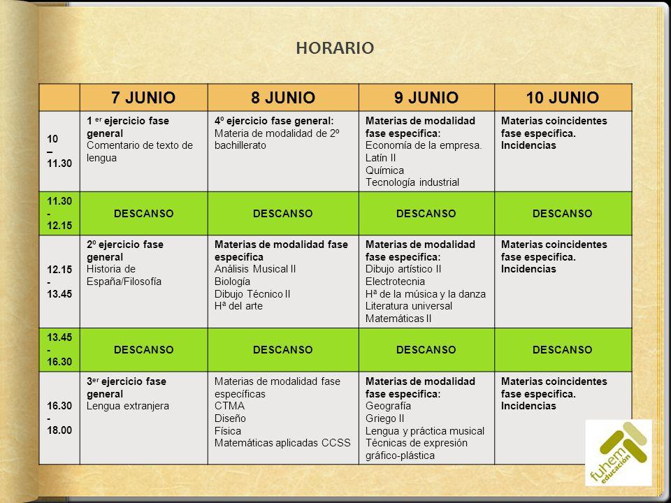 HORARIO 7 JUNIO 8 JUNIO 9 JUNIO 10 JUNIO 10 – 11.30