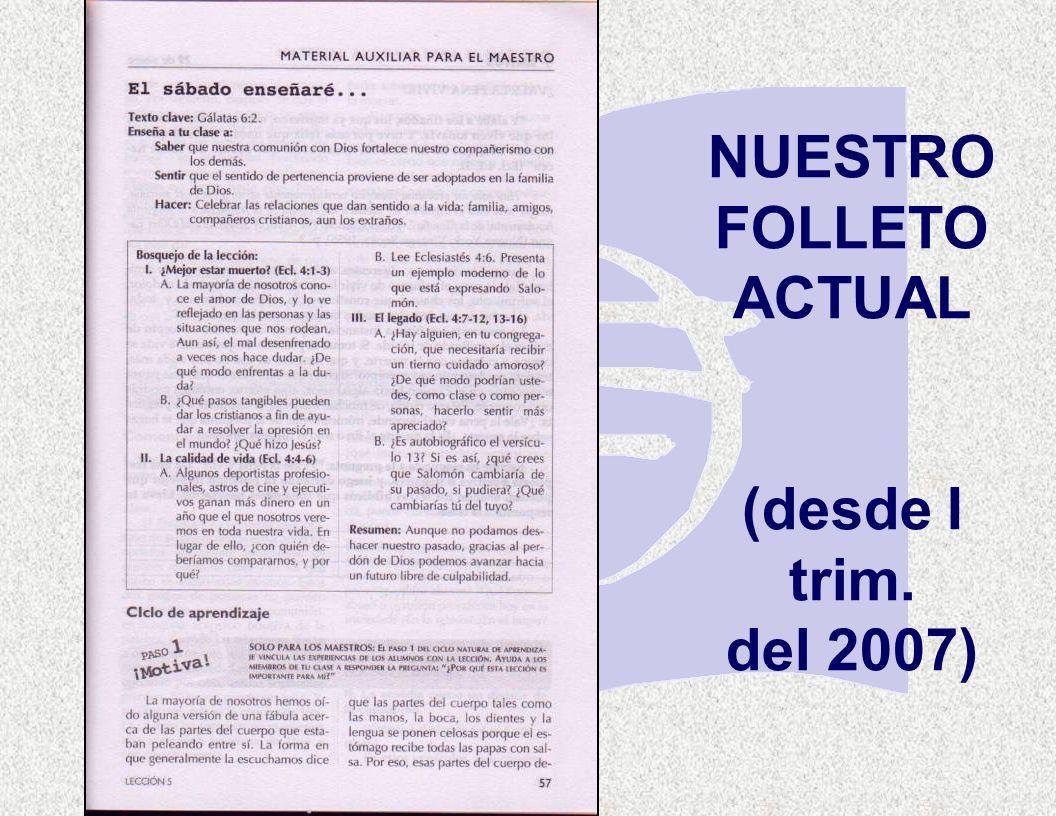 NUESTRO FOLLETO ACTUAL (desde I trim. del 2007)