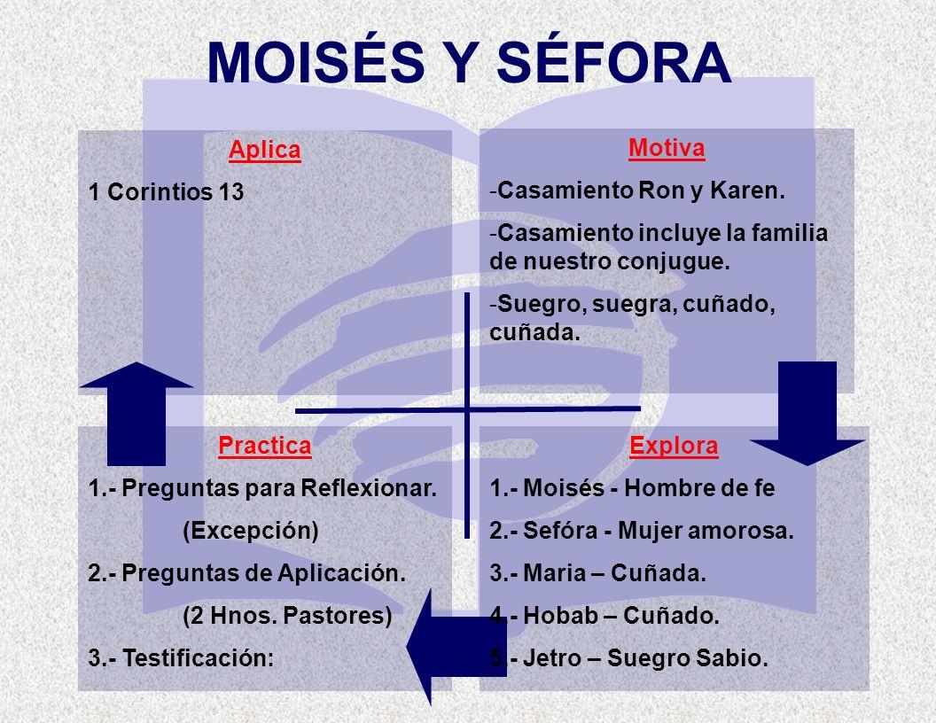 MOISÉS Y SÉFORA Aplica 1 Corintios 13 Motiva Casamiento Ron y Karen.