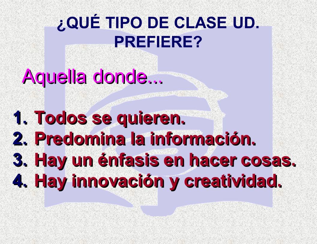 ¿QUÉ TIPO DE CLASE UD. PREFIERE