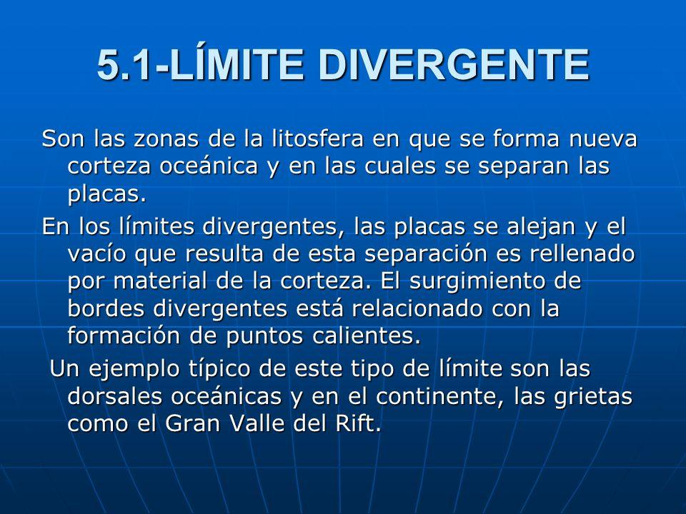 5.1-LÍMITE DIVERGENTESon las zonas de la litosfera en que se forma nueva corteza oceánica y en las cuales se separan las placas.