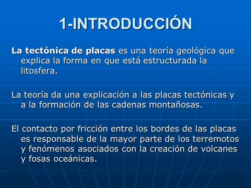1-INTRODUCCIÓN La tectónica de placas es una teoría geológica que explica la forma en que está estructurada la litosfera.