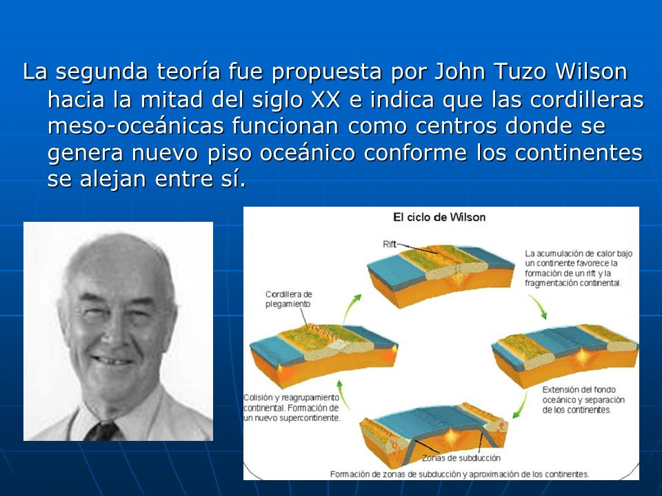 La segunda teoría fue propuesta por John Tuzo Wilson hacia la mitad del siglo XX e indica que las cordilleras meso-oceánicas funcionan como centros donde se genera nuevo piso oceánico conforme los continentes se alejan entre sí.