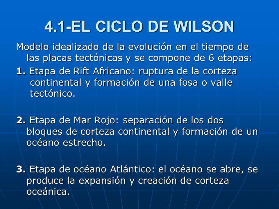 4.1-EL CICLO DE WILSONModelo idealizado de la evolución en el tiempo de las placas tectónicas y se compone de 6 etapas: