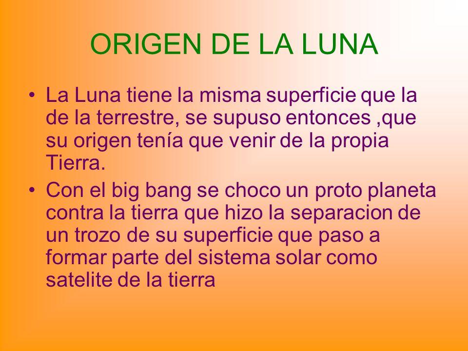 ORIGEN DE LA LUNA La Luna tiene la misma superficie que la de la terrestre, se supuso entonces ,que su origen tenía que venir de la propia Tierra.