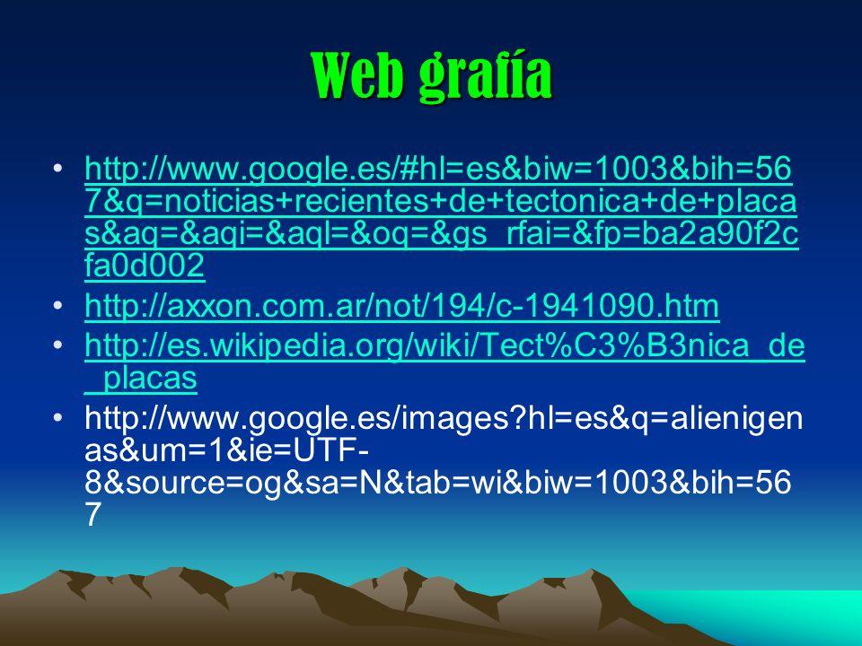 Web grafía http://www.google.es/#hl=es&biw=1003&bih=567&q=noticias+recientes+de+tectonica+de+placas&aq=&aqi=&aql=&oq=&gs_rfai=&fp=ba2a90f2cfa0d002.