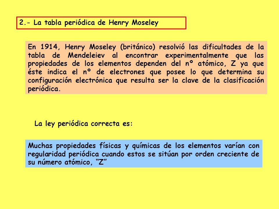 Clasificacin de los elementos ppt descargar la tabla peridica de henry moseley urtaz Choice Image