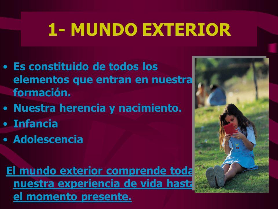 1- MUNDO EXTERIOR Es constituido de todos los elementos que entran en nuestra formación. Nuestra herencia y nacimiento.