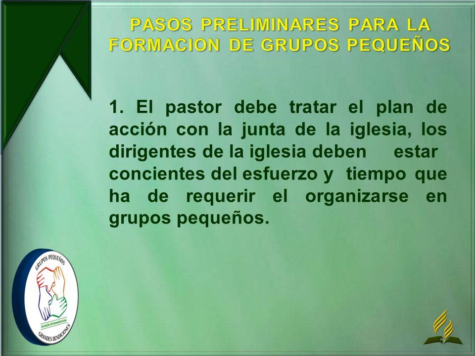 PASOS PRELIMINARES PARA LA FORMACION DE GRUPOS PEQUEÑOS