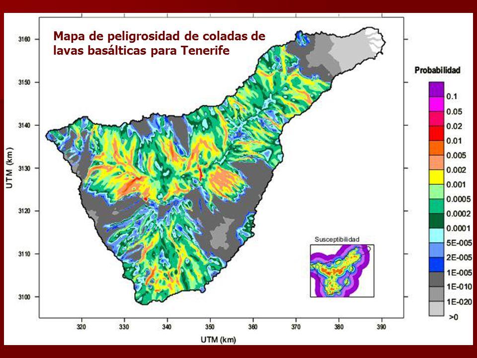 Mapa de peligrosidad de coladas de lavas basálticas para Tenerife