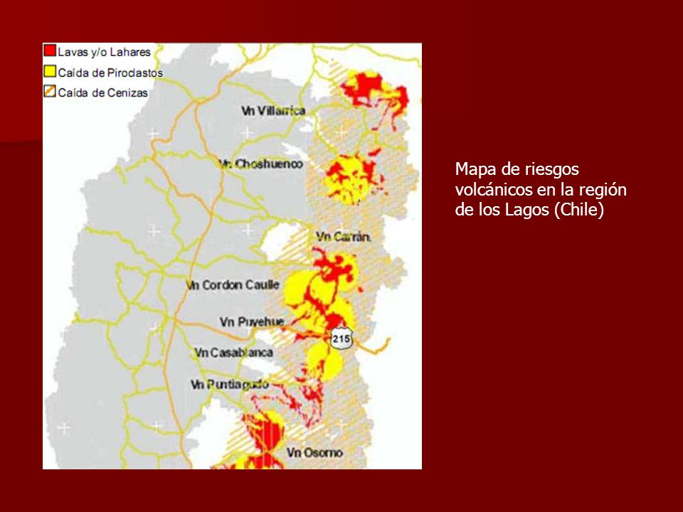 Mapa de riesgos volcánicos en la región de los Lagos (Chile)