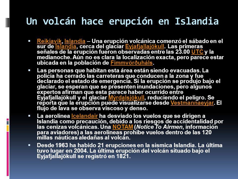 Un volcán hace erupción en Islandia
