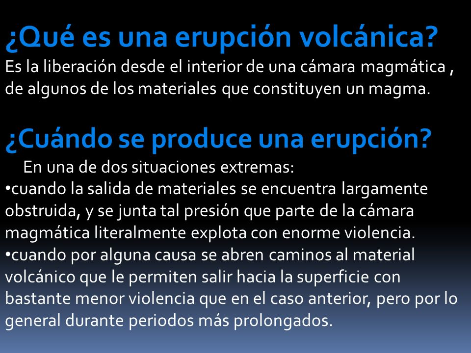 ¿Qué es una erupción volcánica