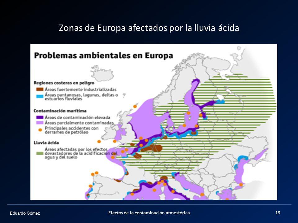 Zonas de Europa afectados por la lluvia ácida