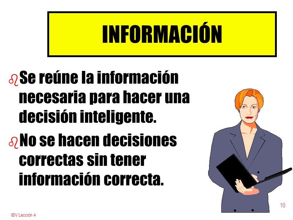 INFORMACIÓN Se reúne la información necesaria para hacer una decisión inteligente.