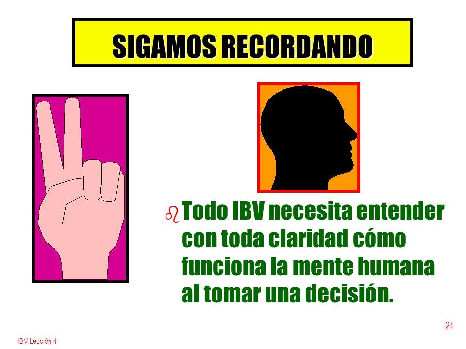 SIGAMOS RECORDANDO Todo IBV necesita entender con toda claridad cómo funciona la mente humana al tomar una decisión.