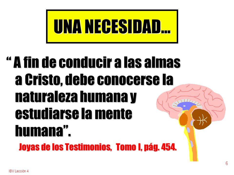 UNA NECESIDAD... A fin de conducir a las almas a Cristo, debe conocerse la naturaleza humana y estudiarse la mente humana .