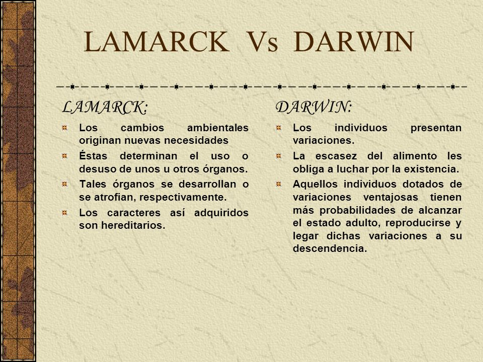 darwin v lamarck Darwin's theory of evolution brought to an end the static view of nature it was no  longer possible to think of species as immortal, with secure places in nature.