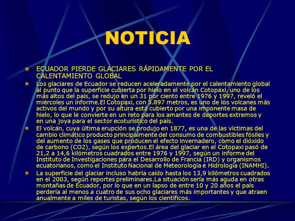 NOTICIA ECUADOR PIERDE GLACIARES RÁPIDAMENTE POR EL CALENTAMIENTO GLOBAL.