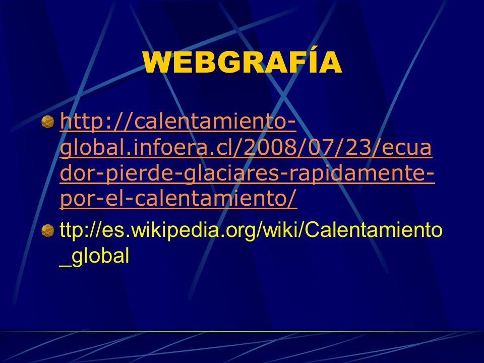 WEBGRAFÍA http://calentamiento-global.infoera.cl/2008/07/23/ecuador-pierde-glaciares-rapidamente-por-el-calentamiento/