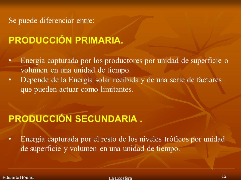 PRODUCCIÓN SECUNDARIA .