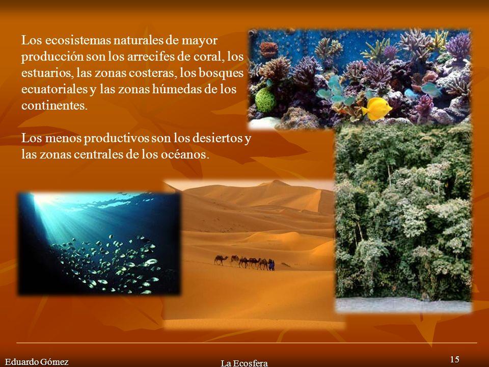 Los ecosistemas naturales de mayor producción son los arrecifes de coral, los estuarios, las zonas costeras, los bosques ecuatoriales y las zonas húmedas de los continentes.