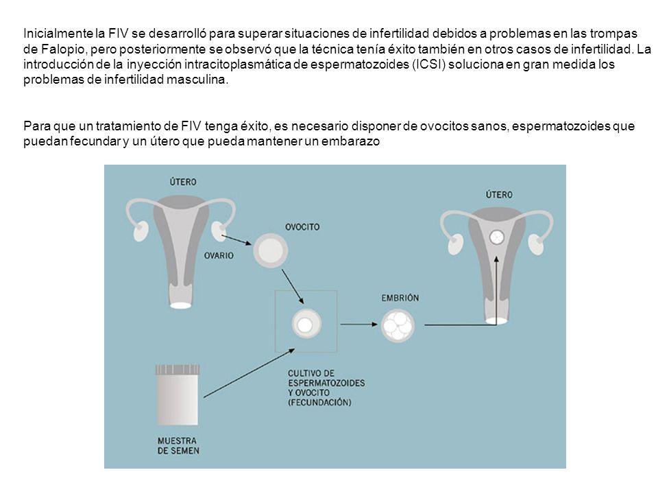 Inicialmente la FIV se desarrolló para superar situaciones de infertilidad debidos a problemas en las trompas de Falopio, pero posteriormente se observó que la técnica tenía éxito también en otros casos de infertilidad. La introducción de la inyección intracitoplasmática de espermatozoides (ICSI) soluciona en gran medida los problemas de infertilidad masculina.