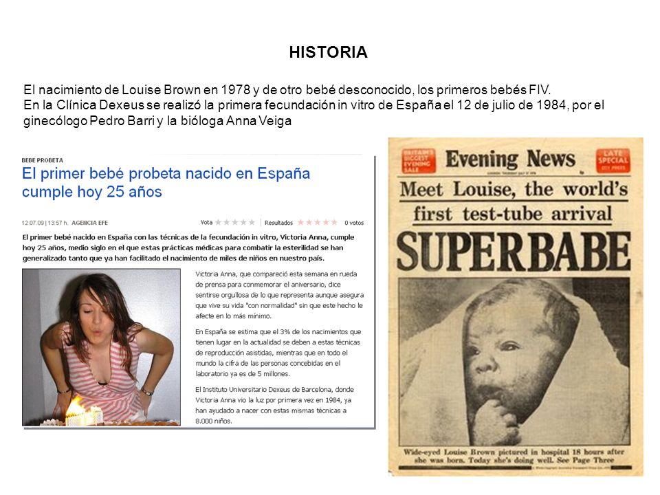 HISTORIA El nacimiento de Louise Brown en 1978 y de otro bebé desconocido, los primeros bebés FIV.