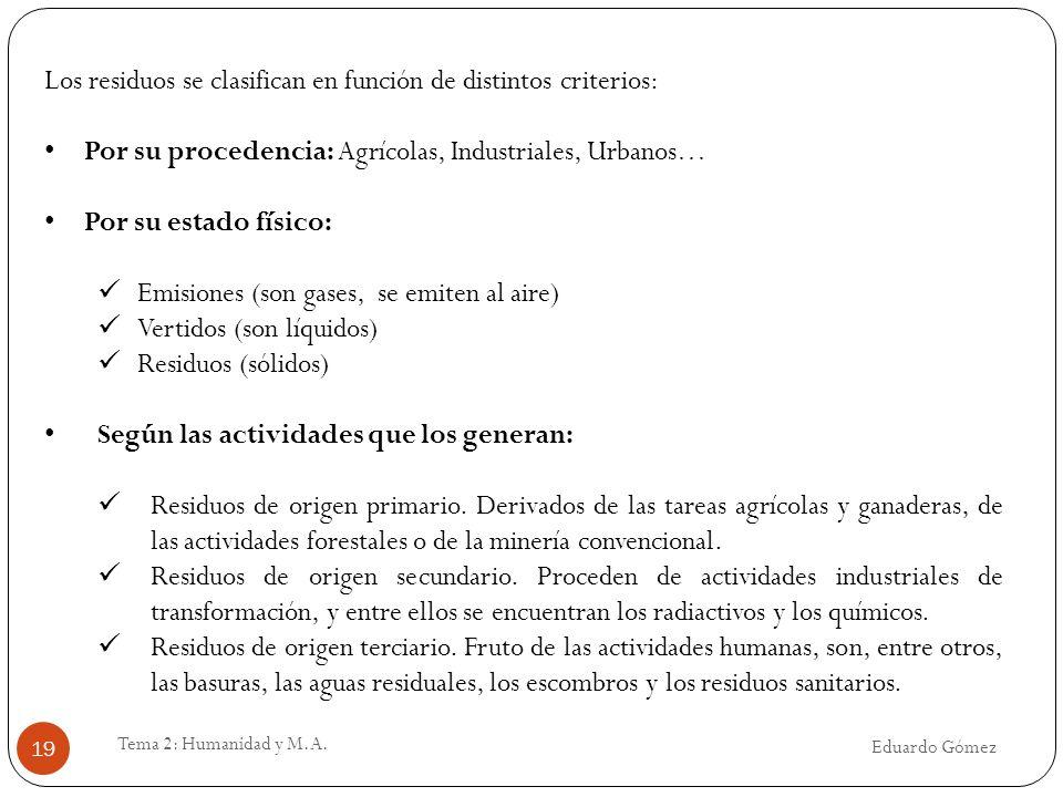 Los residuos se clasifican en función de distintos criterios: