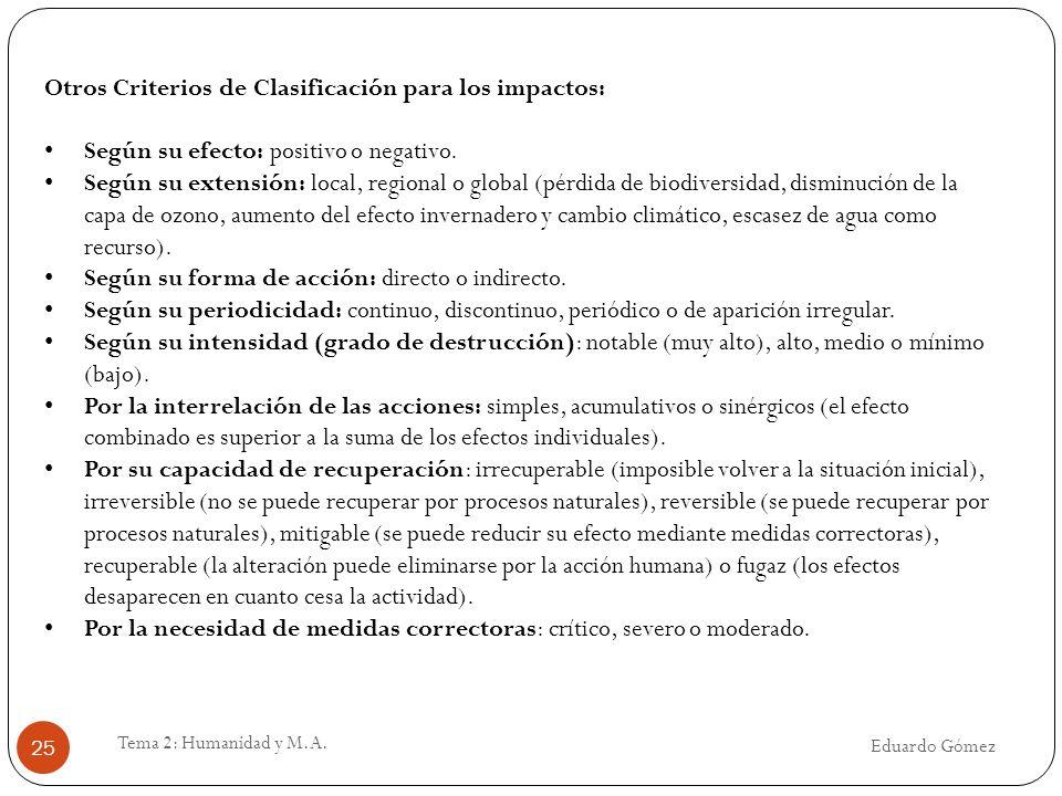 Otros Criterios de Clasificación para los impactos: