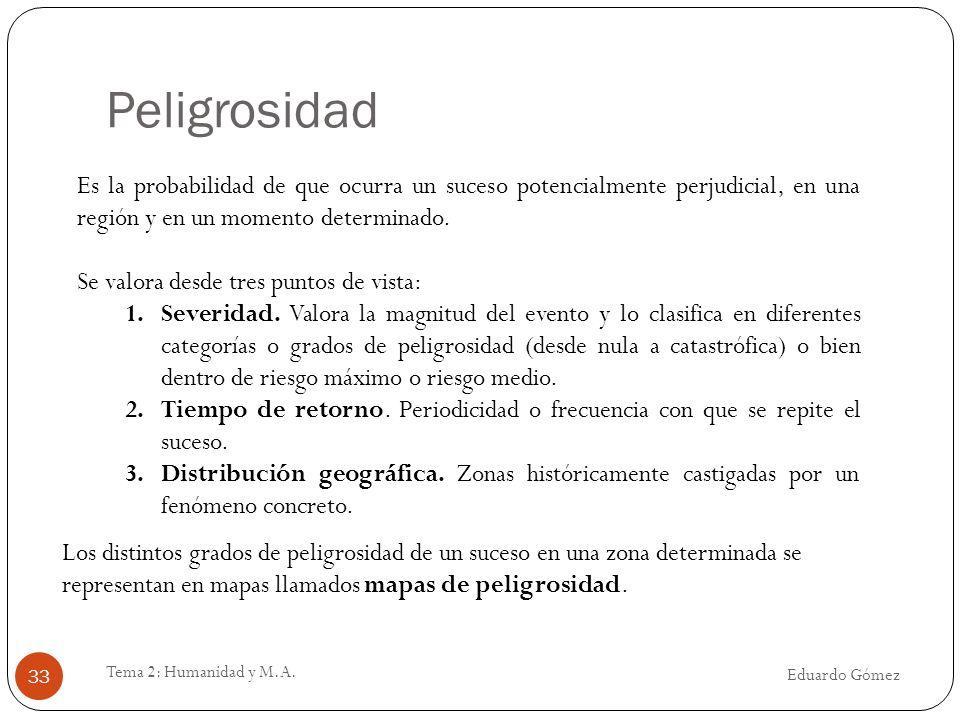 Peligrosidad Es la probabilidad de que ocurra un suceso potencialmente perjudicial, en una región y en un momento determinado.