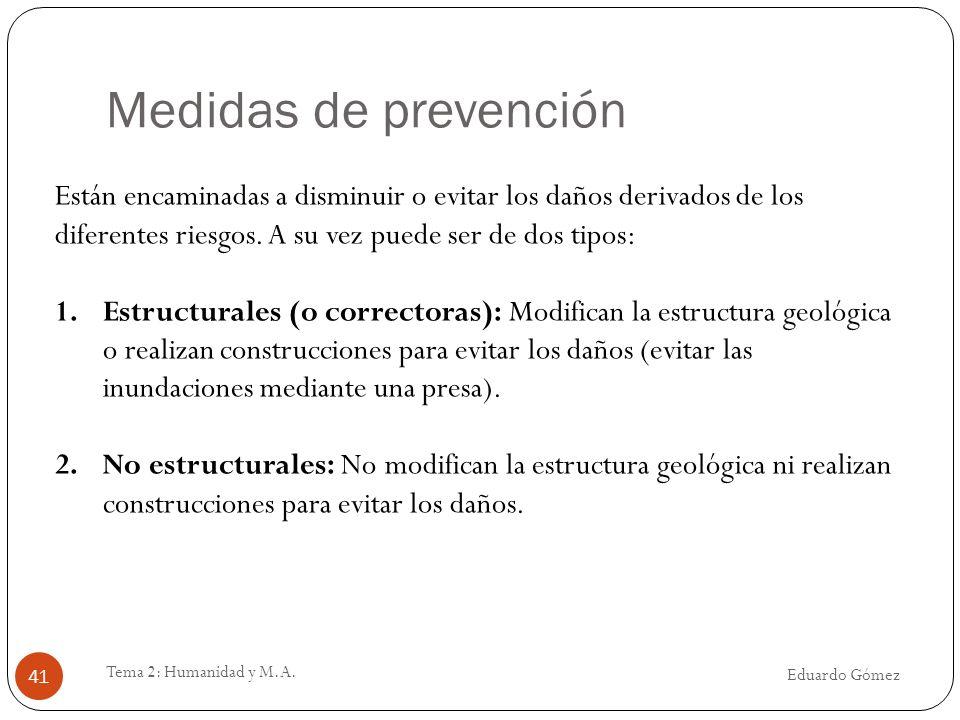 Medidas de prevención Están encaminadas a disminuir o evitar los daños derivados de los diferentes riesgos. A su vez puede ser de dos tipos: