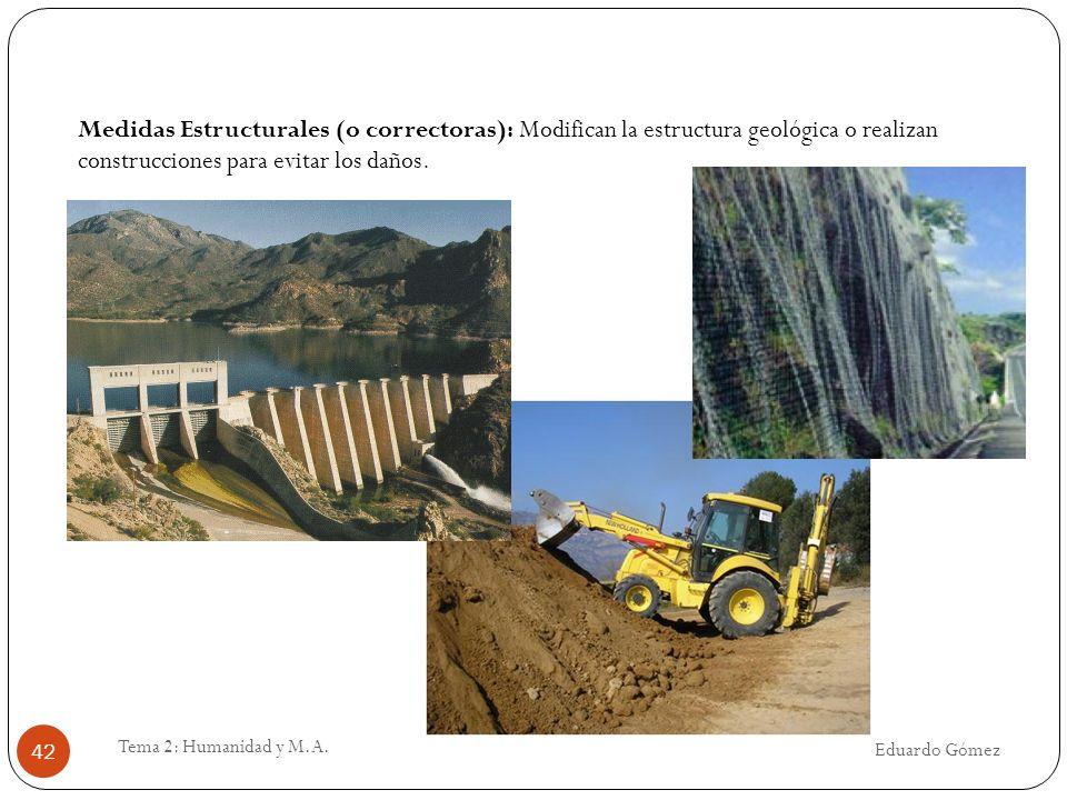 Medidas Estructurales (o correctoras): Modifican la estructura geológica o realizan construcciones para evitar los daños.