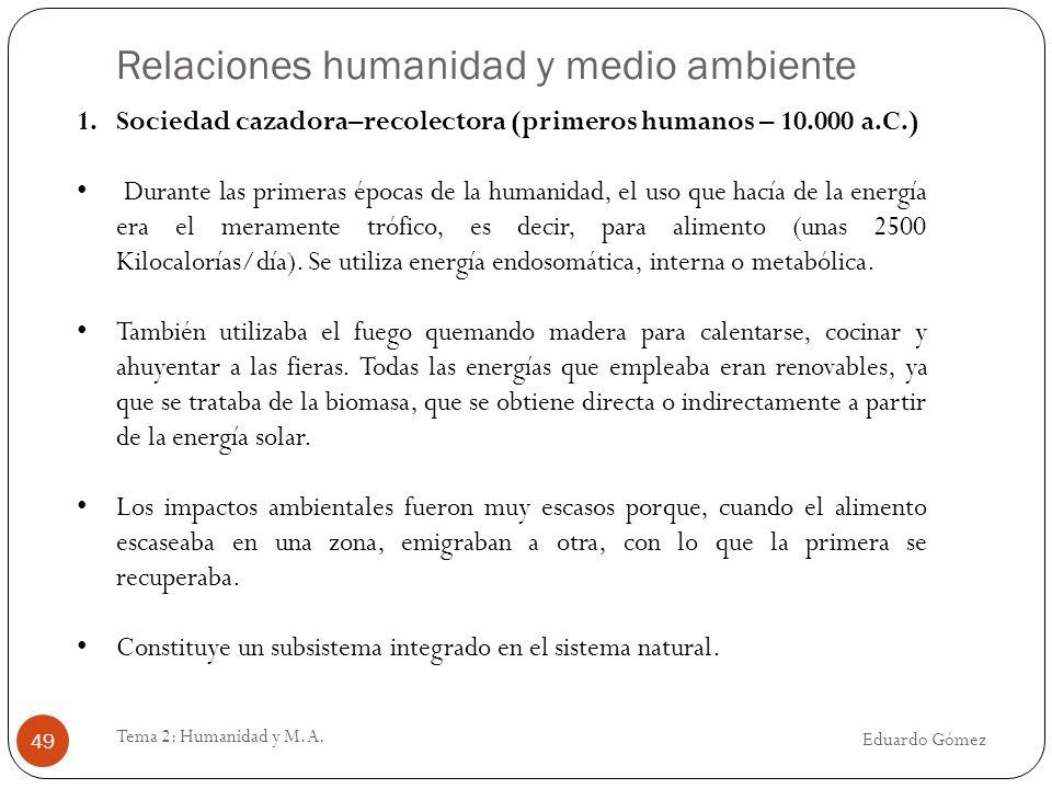 Relaciones humanidad y medio ambiente