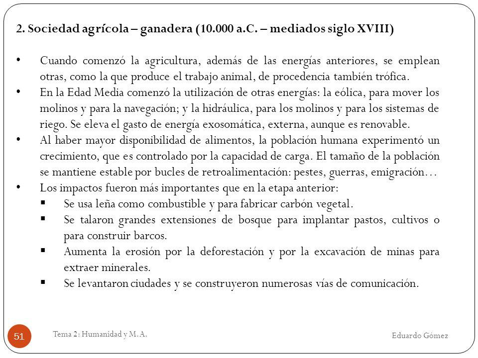 2. Sociedad agrícola – ganadera (10.000 a.C. – mediados siglo XVIII)