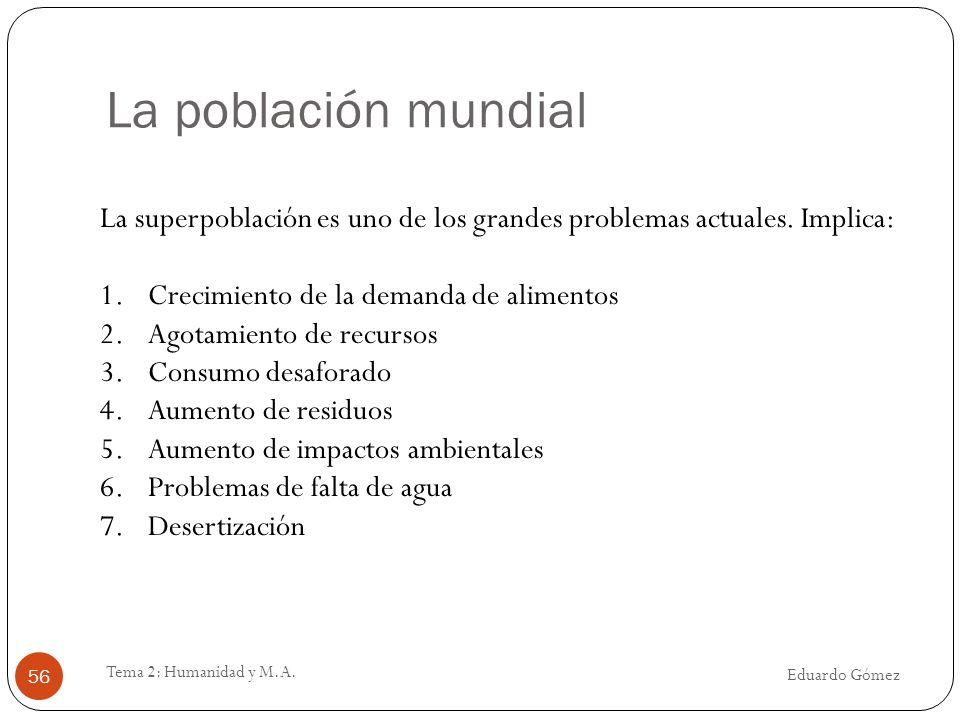 La población mundial La superpoblación es uno de los grandes problemas actuales. Implica: Crecimiento de la demanda de alimentos.