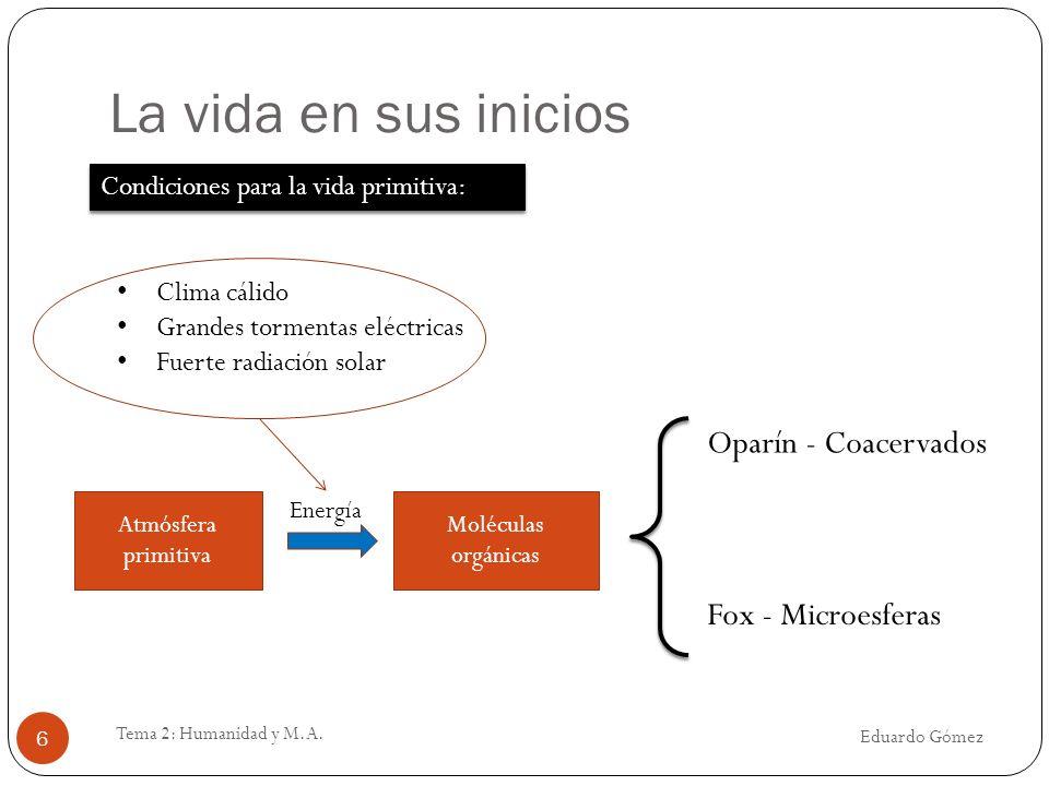 La vida en sus inicios Oparín - Coacervados Fox - Microesferas