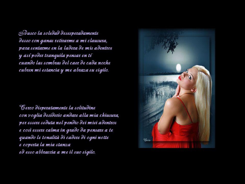 Busco la soledad desesperadamente deseo con ganas retirarme a mi clausura, para sentarme en la ladera de mis adentros y así poder tranquila pensar en tí cuando las sombras del caer de cada noche cubren mi estancia y me abraza su sigilo.