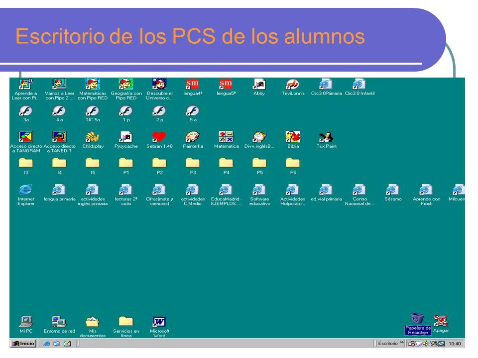 Escritorio de los PCS de los alumnos