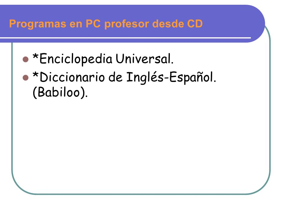 Programas en PC profesor desde CD