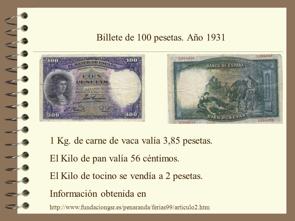 1 Kg. de carne de vaca valía 3,85 pesetas.