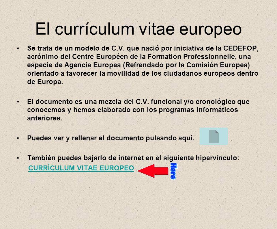 El currículum vitae europeo
